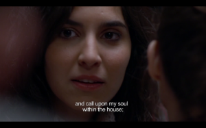 "Figure 4. ""And call upon my soul within the house."" Still from Matías Piñeiro's ""Viola"" (2012). Used by permission of Matías Piñeiro."