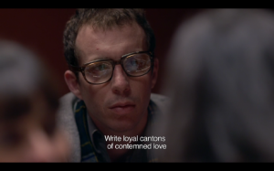 "Figure 5. ""Write loyal cantons of contemned love."" Still from Matías Piñeiro's ""Viola"" (2012). Used by permission of Matías Piñeiro."
