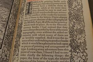 "Figure 3. Morris page demonstrating ideals of page layout, from William Morris, ""A Note on His Aims on Founding the Kelmscott Press,"" (n.p.: Kelmscott Press, 1898), page 1. Hargrett Rare Book and Manuscript Library Shelfmark: Uncat 355. Used by permission of Hargrett Rare Book and Manuscript Library, University of Georgia."