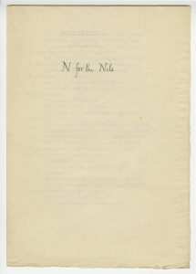"Figure 4. Edward Johnston, calligrapher, ""N for Nile,"" ephemera associated with ""The Tragedie of Anthony and Cleopatra"" (Hammersmith, UK: Doves Press, 1912). Triple Crown Collection, Washington University Libraries, Department of Special Collections, Shelfmark: PR2802.A1 1912. Photograph courtesy of Washington University Libraries' Department of Special Collections."