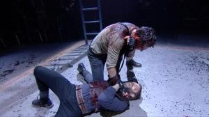 "Figure 10. Hand-held shot of Martius pinning Aufidius (1.8). Cinemacast still from the Donmar Warehouse's ""Coriolanus,"" stage direction by Josie Rourke, screen direction by Tim van Someren, broadcast by National Theatre Live (30 January 2014). Photograph courtesy of Tim van Someren."