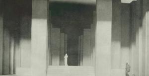 Figure 1. Photograph of Edward Gordon Craig's model for the final act of Hamlet, as shown in Towards a New Theatre: Forty Designs for Stage Screens with Critical Notes by the Inventor (London: J. M. Dent, 1913), plate facing p. 85. Image reproduced by permission of the Thomas Fisher Rare Book Library, University of Toronto.