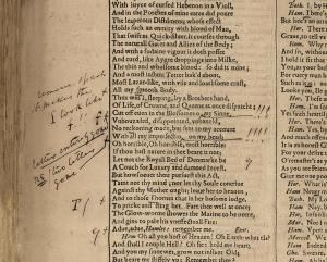 Figure 3. Staunton's corrections in his proof-copy of his photolithographic First Folio facsimile, sig. oo1v in Hamlet (see n. 36). Used by permission of the Folger Shakespeare Library under a Creative Commons Attribution-ShareAlike 4.0 International License.