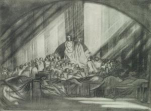 Figure 7. Edward Gordon Craig's illustration of Hamlet's Act 1, scene 2 for the 1911 Moscow Hamlet, reproduced in Towards a New Theatre: Forty Designs for Stage Screens with Critical Notes by the Inventor (London: J. M. Dent, 1913), plate facing p. 81. Image reproduced by permission of the Thomas Fisher Rare Book Library, University of Toronto.