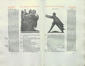 Figure 9. Edward Gordon Craig's Black Figures printed in the Cranach Press Hamlet, pp. 62–63 of the 1930 edition (see n. 42). Image reproduced by permission of the Thomas Fisher Rare Book Library, University of Toronto.