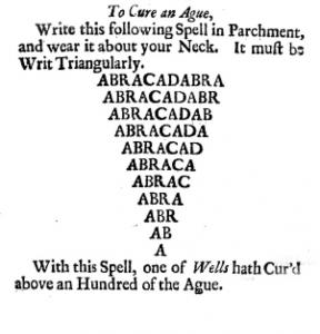 Figure 3. Cure for ague, from J[ohn] Aubrey, Miscellanies upon the following subjects collected by J. Aubrey, Esq. (London, 1696). Photograph courtesy of the author to whom the edition belongs.
